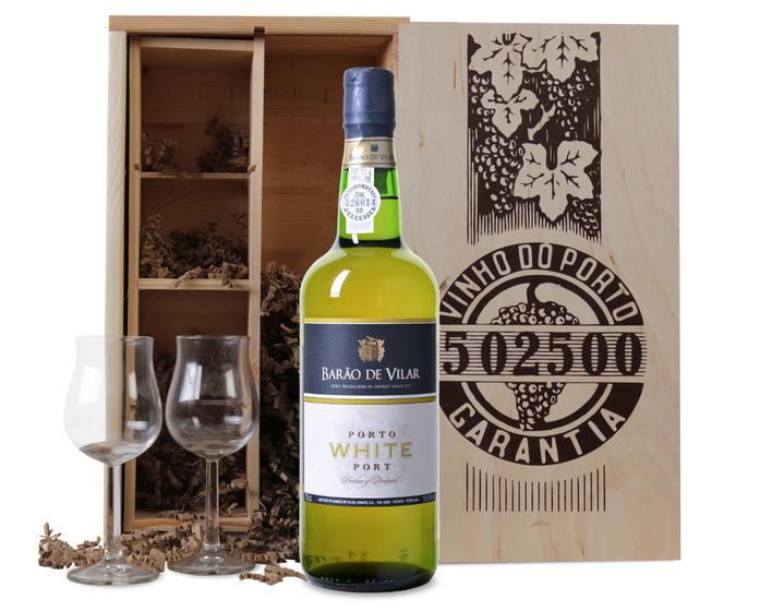 White port + 2 glazen in luxe portkist | Wijnvoordeel