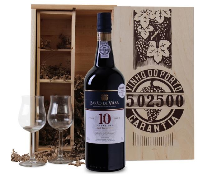 Wijnkist 10 jaar oude port met wijnglazen