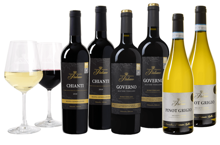 Grand Maestro Italiano Wijnpakket 6 flessen + 2 glazen