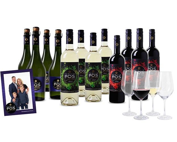 Wijnpakket familie pos + gratis 4 glazen