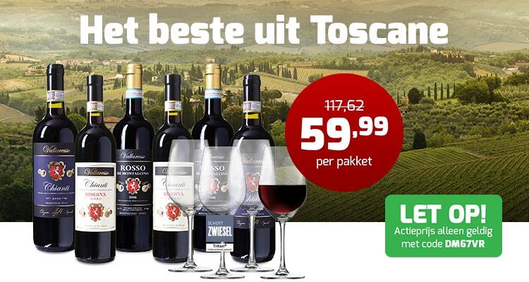 Vallaresso 6 flessen met wijnglazen